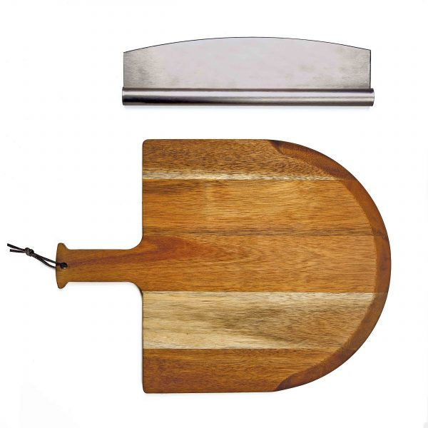 Pizza peel and cutter - top view