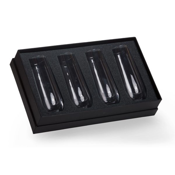4x Stemless Champagne Flutes in Presentation Box